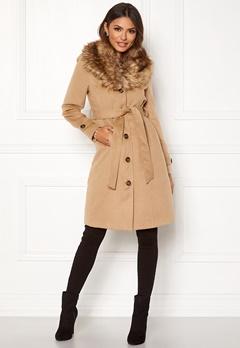 Happy Holly Elisa coat with belt Camel Bubbleroom.dk