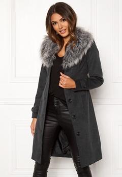 Happy Holly Elisa coat with belt Dark grey melange Bubbleroom.dk