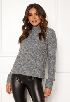 Happy Holly Eliza button sweater Grey melange Bubbleroom.dk