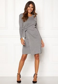 Happy Holly Elizabella knitted dress Grey melange Bubbleroom.dk
