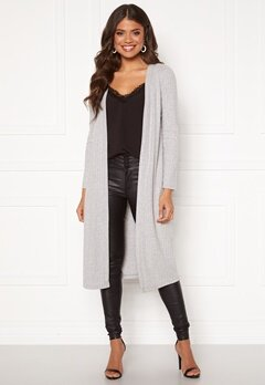 Happy Holly Elly long rib cardigan Light grey melange Bubbleroom.dk
