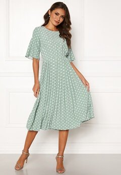 Happy Holly Eloise pleated dress Light mint / Dotted Bubbleroom.dk
