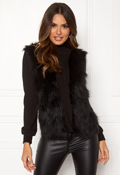 Happy Holly Emilia fur sweater  Black Bubbleroom.dk
