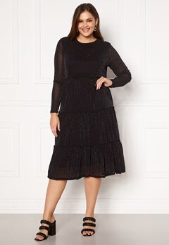 Happy Holly Emilia Glitter flounce dress Black / Silver Bubbleroom.dk