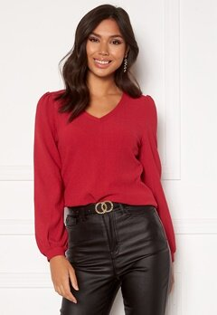Happy Holly Emilia ls sleeve puff top  Dark red Bubbleroom.dk