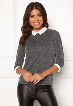 Happy Holly Emmie top Dark grey melange Bubbleroom.dk