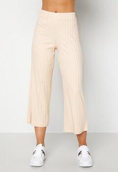Happy Holly Emmy rib wide pants Light beige Bubbleroom.dk