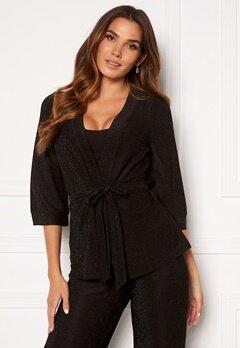 Happy Holly Estelle lurex kimono jacket Black Bubbleroom.dk