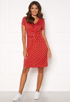 Happy Holly Fiona dress Coral red / Dotted Bubbleroom.dk