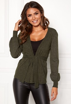 Happy Holly Freja cardigan Dark green / Melange Bubbleroom.dk
