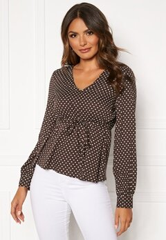 Happy Holly Frida blouse Brown / Dotted Bubbleroom.dk