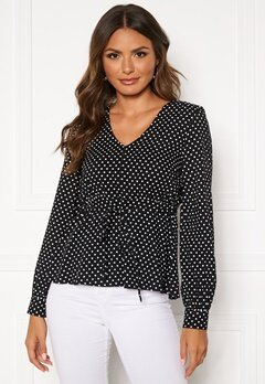 Happy Holly Frida blouse Black / Dotted Bubbleroom.dk
