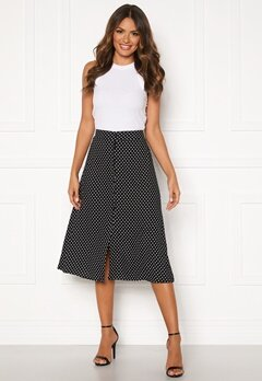 Happy Holly Frida button skirt Black / Dotted Bubbleroom.dk