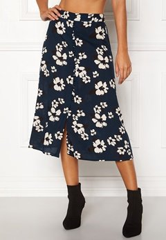 Happy Holly Frida button skirt Dark blue / Patterned Bubbleroom.dk
