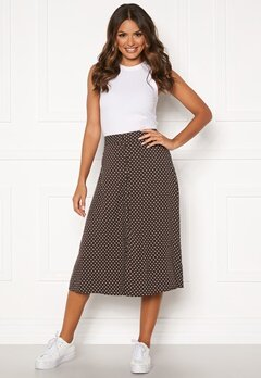 Happy Holly Frida button skirt Brown / Dotted Bubbleroom.dk