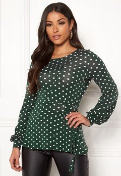 Happy Holly Gianna top Dark green / Dotted Bubbleroom.dk