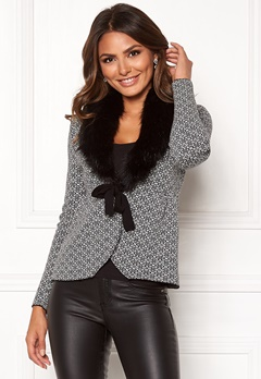 Happy Holly Hannah fur cardigan Black / Offwhite Bubbleroom.dk