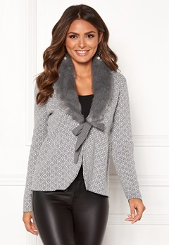 Happy Holly Hannah fur cardigan Grey / Offwhite Bubbleroom.dk