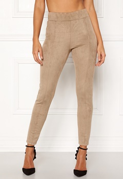Happy Holly Ida suede look leggings Beige Bubbleroom.dk