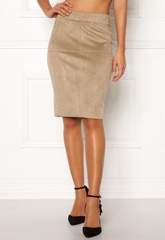 Happy Holly IDA suede look skirt Beige Bubbleroom.dk