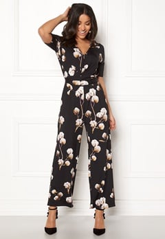 Happy Holly Iman ss jumpsuit Black / Patterned Bubbleroom.dk