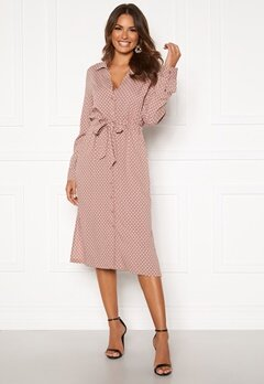 Happy Holly Iris Shirt dress Dusty pink / Dotted Bubbleroom.dk