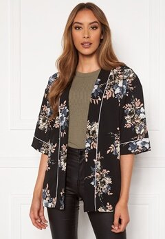 Happy Holly Jelena kimono blouse Black / Patterned Bubbleroom.dk
