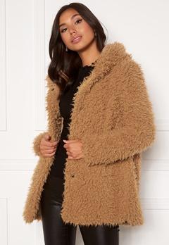 Happy Holly Jenny fur coat Camel Bubbleroom.dk