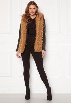 Happy Holly Jenny fur vest Camel Bubbleroom.dk