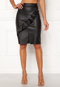 Happy Holly Johanna PU skirt Black Bubbleroom.dk