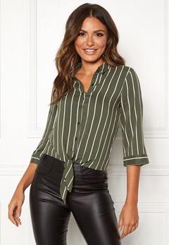 Happy Holly Juliette ss knot shirt Khaki green / Striped Bubbleroom.dk