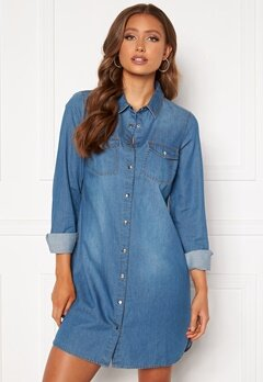 Happy Holly Kathleen long denim shirt Medium denim Bubbleroom.dk