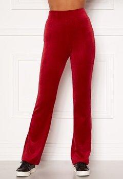 Happy Holly Kaylee velour flared leggings Red Bubbleroom.dk