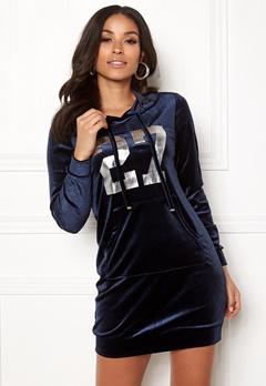 Happy Holly Kaylee velour hoody Dark blue Bubbleroom.dk