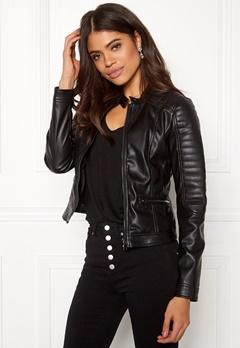 Happy Holly Keira pu jacket Black Bubbleroom.dk
