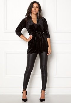 Happy Holly Kiara velour blazer Black Bubbleroom.dk