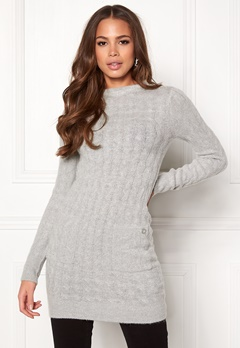 Happy Holly Kira cable sweater dress Grey melange Bubbleroom.dk