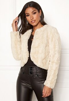 Happy Holly Kirsten fur jacket Light beige Bubbleroom.dk