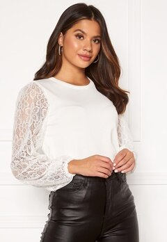 Happy Holly Laila lace sweater Offwhite bubbleroom.dk