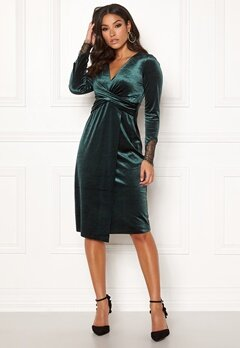 Happy Holly Leonora velvet dress Dark green Bubbleroom.dk