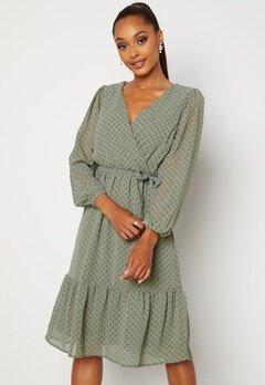 Happy Holly Linn midi Long Sleeve Dress Dusty green Bubbleroom.dk
