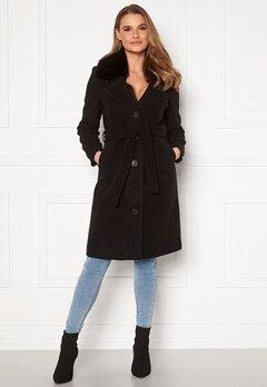 Happy Holly Mariah wool blend coat Black Bubbleroom.dk