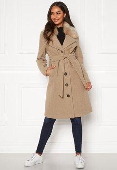 Happy Holly Mariah wool blend coat Beige Bubbleroom.dk
