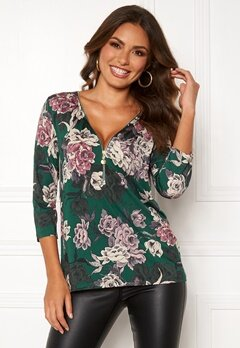 Happy Holly Marion top Dark green / Floral Bubbleroom.dk