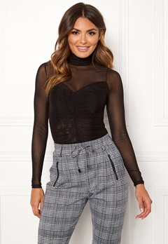 Happy Holly Megan mesh top Black Bubbleroom.dk