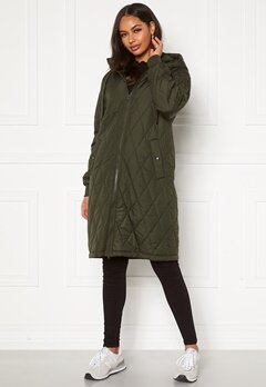 Happy Holly Melanie quilted hood jacket Khaki green Bubbleroom.dk