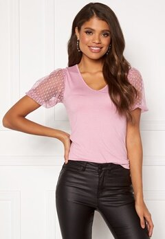 Happy Holly Melissa v-neck puff top Dusty pink Bubbleroom.dk