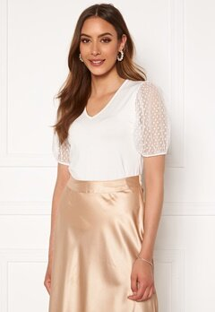 Happy Holly Melissa v-neck puff top Offwhite Bubbleroom.dk