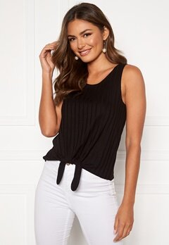Happy Holly Mila knot rib top Black Bubbleroom.dk