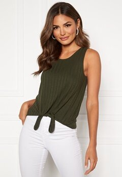 Happy Holly Mila knot rib top Khaki green Bubbleroom.dk